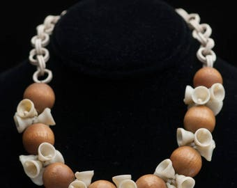Vintage Celluloid Bells and Wooden Beads Necklace with Celluloid Chain 1940s