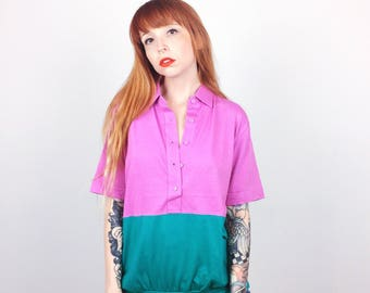Deadstock 80's Vintage Colorblock Purple and Teal Polo Oxford Collared Shirt // Women's size Large L