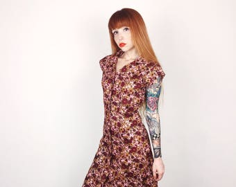Lovely 60's Mod Pink Floral Print Button Up Summer Garden Dress // Women's size Small S