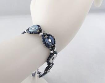 Anastasia Blues Woven Bead Bracelet with Self-Toggle Clasp