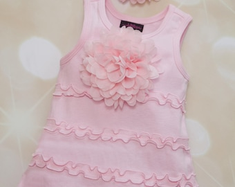 Infant Layette Light Pink A-Line Sleeveless Ruffle Dress  Cotton Baby Dress with Large Chiffon Flower and Matching Headband