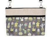 "Cactus Laptop Bag, Cacti iPad Pro 10.5"" Crossbody, MacBook 12"" Shoulder Bag, MacBook Pro 13"" Padded Tote, Zipper Bag - gray cactus"