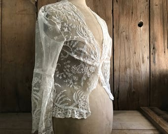 Cream Lace Jacket Shawl Wedding Ecru White Antique