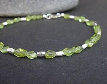 Natural Gemstone Peridot Bracelet, Thai Hill Tribe Silver Bracelet, Faceted Peridot Bracelet, August Birthstone