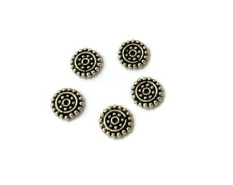 Large Sterling Silver Bali Style Disc Spacers, 8mm, Bali Style Components, Packet of 5 Antiqued Granulated Sterling Silver Disk Spacer Beads