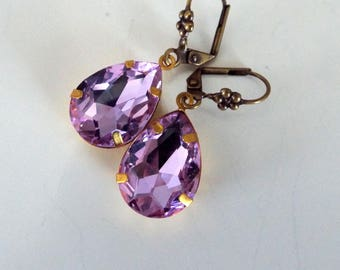 Pale AB Purple Rhinestone Antiqued Gold Floral Leverback Faceted Glass Earrings