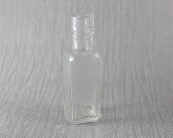 Small Square Shaped Vintage Bottle HP Sauce Clear Glass