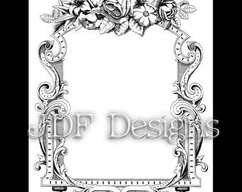 Instant Digital Download, Victorian Antique Graphic, Rose Floral Ornate Scroll Frame, Printable Image, Scrapbook, Invitation, Wedding