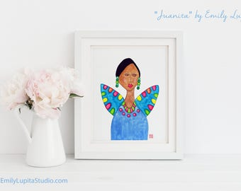 Art Print / Painting Invitation Stationary Card / Woman Angel Blue Wings / Woman Portrait Colorful Art / Craft Project Print at Home DIY