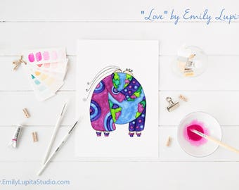 Art Print / Painting Card Invitations Stationary  / Wedding Bridal Shower Gift Engagement Anniversary / International World Wall Art / Globe