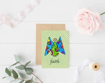 "Greeting Card ""Faith"" / Wedding Bridal Engagement Anniversary / Birthday Baby Shower Girl Angel Wings Christmas Card / Print at Home Artwork"