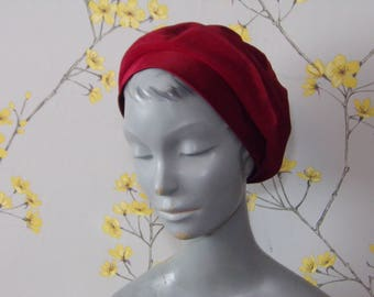 Vintage 60s 70s Hat by Dolores Boutique Red Satin and Cotton Ladies Beret Style Hat Made in Denmark by Kama