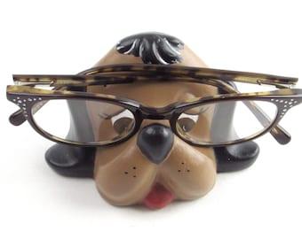 Cute Brown Puppy Dog Eyeglasses Holder - Office - Desk Accessory - Vintage Home Decor