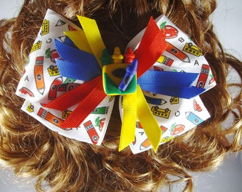 Hair Bow Clip - Pinwheel Bow Clip - Back to School Hair Clip - Back to School Bow - Crayon Clay Embellishment Bow - Large Bow - Layered Bow