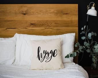 Hygge Pillow Cover •Cozy Modern Farmhouse •Calligraphy Pillow • Rustic Home Decor • Hand Lettered Throw Pillow Cover • FREE SHIPPING
