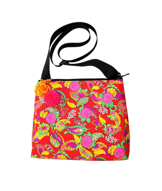 SALE! Electric, neon, vintage fabric, psychedelic, pom poms, large, cross body bag