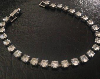 40s Vintage Single Strand Clear Rhinestone Bracelet Prong Set Clasp Bracelet Bridal Cocktail Jewelry