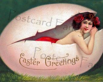 SEXY Lady in Red Inside a Easter Egg, Instant DIGITAL DOWNLOAD, Printable Vintage Illustration