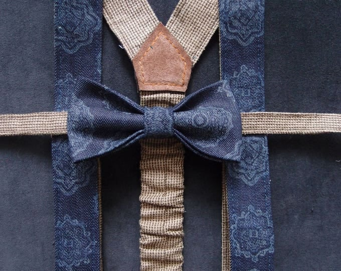 Navy Bow tie and Suspenders, Blue Bow Tie and Suspenders, Bow Tie and Suspenders Set, Denim Bow tie and Suspender, Wedding Bow tie set