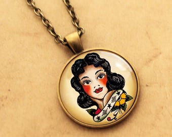 Pin up Girl Necklace, Sailor Jerry Pendant, Rockabilly Necklace, Tattoo Necklace, Pinup Pendant, Pin-up Necklace, Punk, Gift For Her