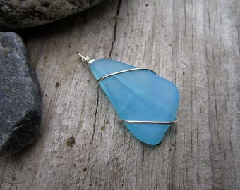 Turquoise Blue Beach Glass Pendant - Sterling Silver Wrapped