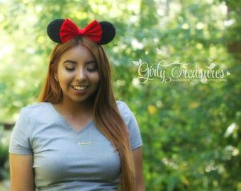 Red Fabric Bow Mouse Ears. Girl Mouse Ears Headband. Womens Headband. Teen Headband. Mouse Ears Headband. Disney Headband.