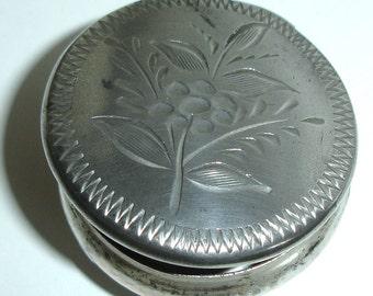 "Snuff box, pill box, silver plate, Victorian, Edwardian Snuff box, 1900s collectible, rare, keep sake, collectors item, 2"" round, silver"
