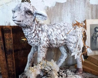 Farmhouse lamb statue hand painted distressed baby sheep wearing French Nordic crown w/ embellished tail extra halo anita spero design