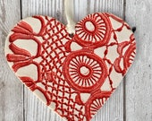 Ceramic lace textured hanging heart decoration home decor