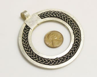 Ethiopian Braided Pendant Black and Silver Ethnic African Jewelry Supplies (AL248)