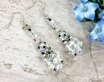 Crystal Beaded Earrings, Beaded Drop Earrings, Dangle Earrings, Crystal Earrings, Crystal Drop Earrings, Bridal Earrings, Wedding Jewelry