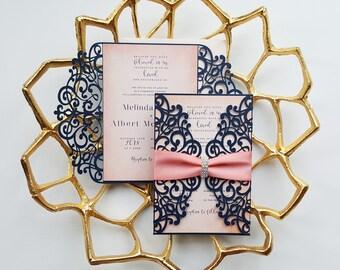 Blue embellished laser cut wedding invite set - Lasercut wedding invitation {Amaryllis design - Sku: AmaNad01}