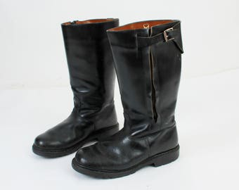 Man Army Boots / Black Leather Winter Boots / Combat Boots / Military Boots / Depe Zipper /  Fur Lined Boots / Man Warm Boots / 70s Boots