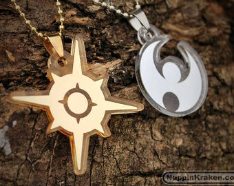Pokemon Sun or Moon Emblem Mirrored Acrylic Necklace