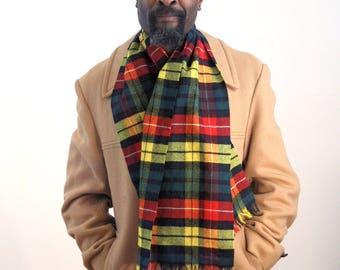 Vintage Yellow Plaid Scarf, Tartan Plaid Scarf, Wool Fringed Scarf, Men's Winter Scarf, Warm Wool Scarf, Yellow Tartan Scarf