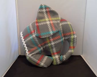 Grey, yellow, red plaid elephant pillow