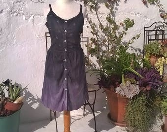 Hand dyed Grey, Lilac Monochrome Cotton Dress Top