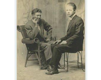 Two Men, Seated, c1910s: Vintage Arcade/Booth Photo RPPC (77592)