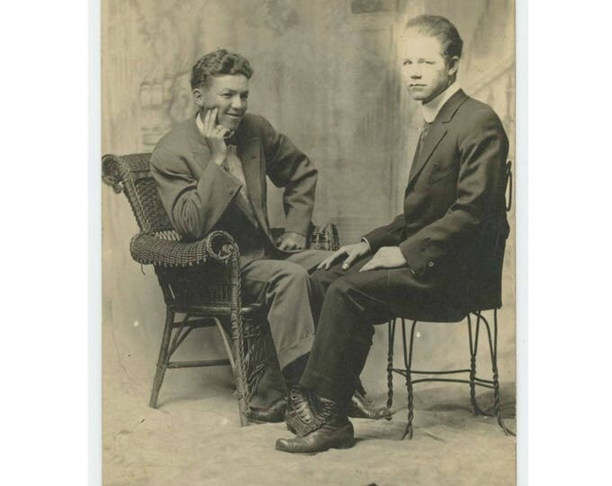 Two Men, Seated, c1910s: Vintage Arcade/Booth Photo RPPC (77592)