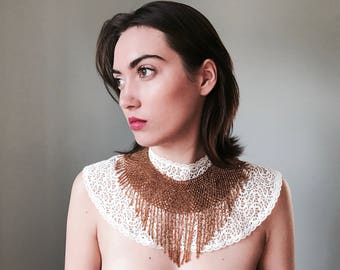 Handmade Gold Beaded Waterfall Collar Necklace