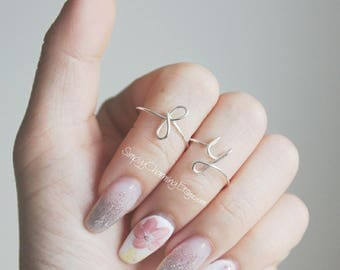 Personalized Customized Initial Rings Lower or Upper Case - Wear As Rings Or Knuckle Rings Midi - Easily Adjustable