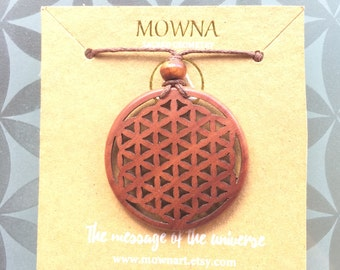 Flower of life sacred geometry wood necklace ypga jewelry gifts