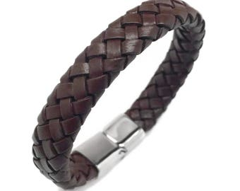 Brown Leather Bracelet for Men, Gifts for Him, Stainless Steel Magnetic Clasp, Leather Band Bracelet, Braided Leather