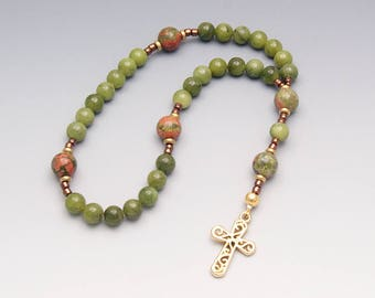 Jade Anglican Rosary - Christian Prayer Beads - Green Rosary with Ornate Cross - Religious Gift - Item # 814