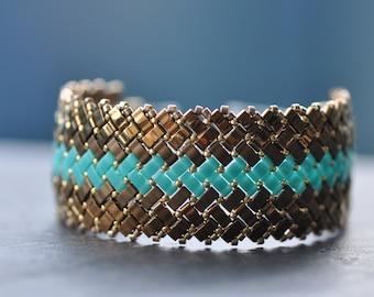 Gold and Turquoise, Herringbone stitch, Half Tila Bracelet, Miyuki beads, Handstitched cuff