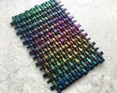 Woven Iridescent Fused Glass Wall Art, Iridescent Art Glass Weave Wall Art