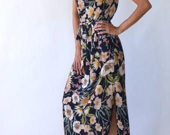Dress / floral print dress / column dress / high neck dress / party dress / cocktail dress / bridesmaid dress / belted dress / elegant dress