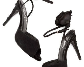 vintage YSL Yves Saint Laurent black suede strappy ankle rose rosette stiletto heels