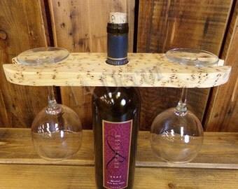 Wine Bottle Topper Double Glass Holder - Birds Eye Pine Wine glass holder