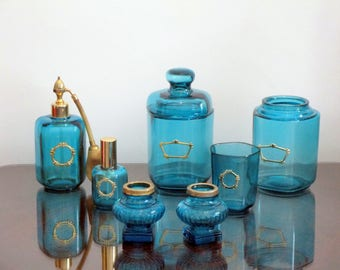 7 Piece French Vintage Aqua Crystal Glass Perfume Vanity Set-Signed Marcel Franck-FANTASTIC COLOR and DESIGN-Great Condition-Treat Yourself!